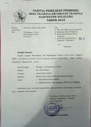 Pelantikan dan Bimbingan Teknis Ketua KPPS dan Anggota untuk Pemilihan Pilkel